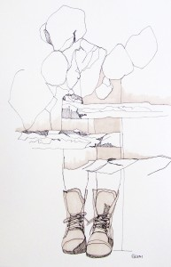 New Mexico Landscape 1, Continuous Line Drawing, 2014