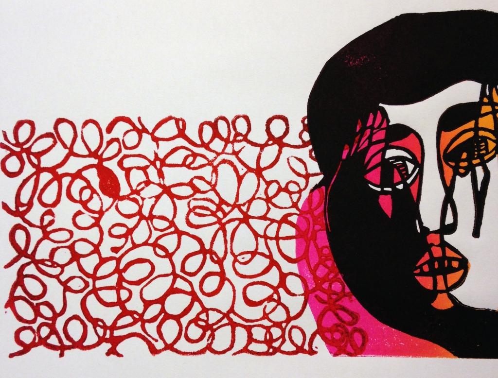 "Noise, Linocut and Monoprint, 9""x7"" 2015"