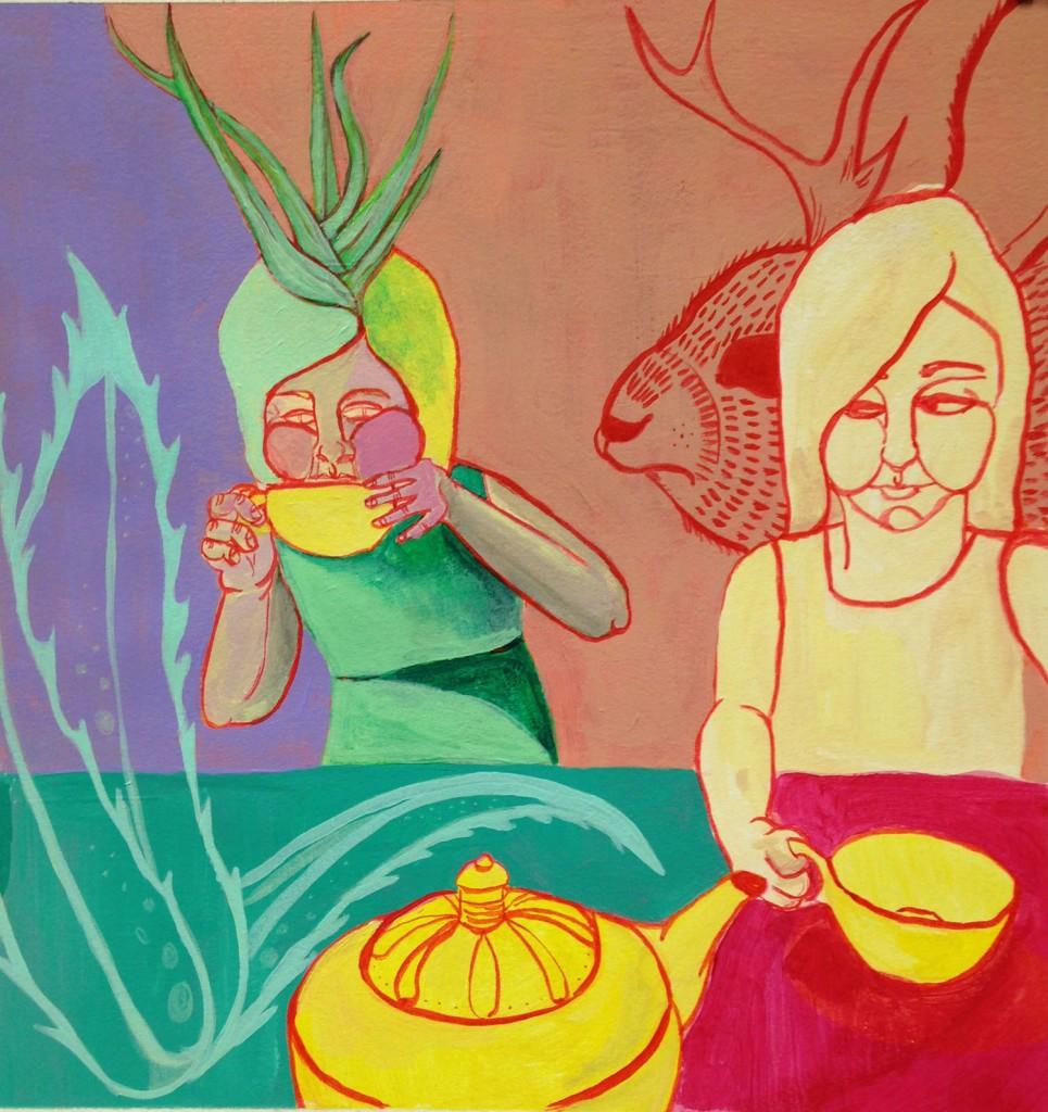 "Teatime, Acrylic on Gessoed Paper, 10""x10"" 2015"